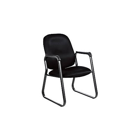 """Global® Max™ Fabric Guest Chair, 36 1/2""""H x 25 1/2""""W x 26""""D, Black Frame, Charcoal Fabric"""