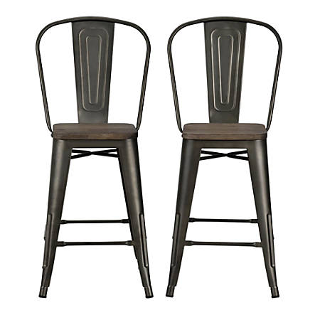 DHP Luxor Metal Counter Stool, Brown, Set Of 2