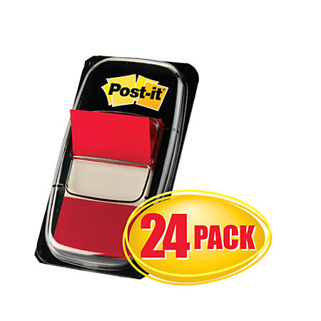 "Post-it® Flags, 1"" x 1 -11/16"", Red, 50 Flags Per Pad, Pack Of 24 Pads"