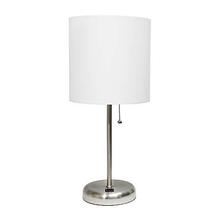 "LimeLights Stick Lamp With USB Port, 19-1/2""H, White Shade/Brushed Steel Base"