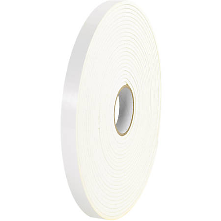 "Tape Logic® Double-Sided Foam Tape, 0.5"" x 36 Yd., White, Case Of 24"
