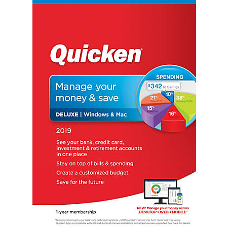 Quicken® Deluxe 2019, 1-Year Subscription, For PC And Mac, Download Version  Item # 8637008