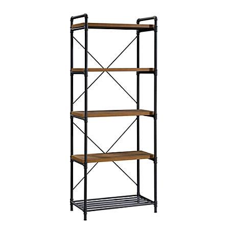 "Sauder® Iron City 76""H 5-Shelf Tall Bookcase, Checkered Oak/Dark Industrial"