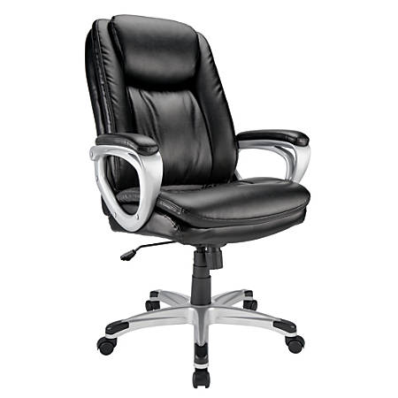 Realspace® Tresswell Bonded Leather Executive High Back Chair, BlackSilver Item # 8638586