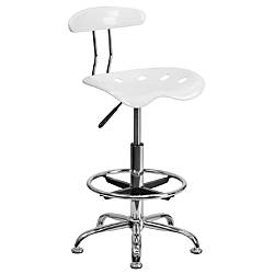 Flash Furniture Vibrant Drafting Stool WhiteChrome