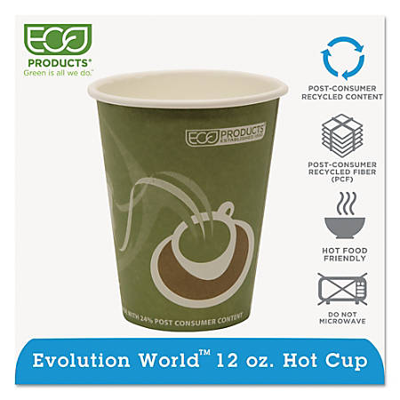 Eco-Products Evolution World PCF Hot Cups, 12 Oz, Sea Green, Pack Of 1,000