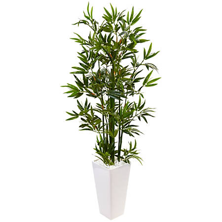 Nearly Natural 4-1/2' Polyester Artificial Bamboo Tree in Tower Planter