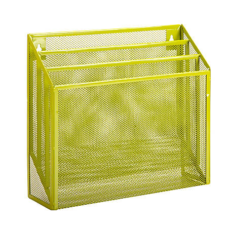 """Honey-Can-Do Vertical File Sorter, 11 1/2""""H x 12 5/8""""W x 3 5/8""""D, Lime"""