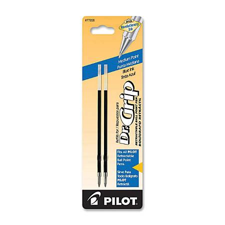 Pilot® Ballpoint Pen Refills, Fits Dr. Grip & All Pilot® Retractable Ballpoint Pens, Medium Point, 1.0 mm, Blue, Pack Of 2