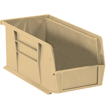 """Office Depot® Brand Plastic Stack And Hang Bin Boxes, 14 3/4"""" x 8 1/4"""" x 7"""", Ivory, Pack Of 12"""