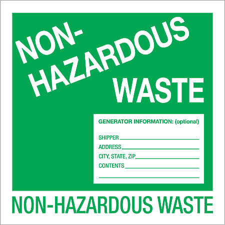 "Tape Logic® Preprinted Shipping Labels, DL1302, Non-Hazardous Waste, Square, 6"" x 6"", Green/White, Roll Of 500"