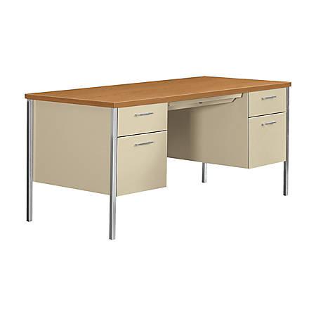 HON® 34000 Series? Steel Double-Pedestal Desk, Harvest/Putty