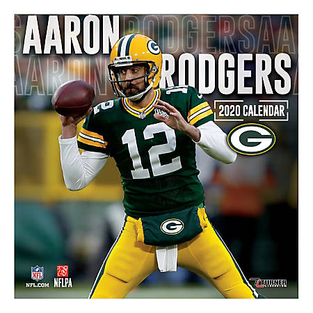 """Turner Licensing Monthly Wall Calendar, 12"""" x 12"""", Aaron Rodgers, 2020"""