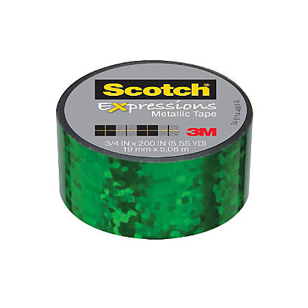 "Scotch® Expressions Metallic Tape, 1"" Core, 0.75"" x 200"", Green Crinkles"