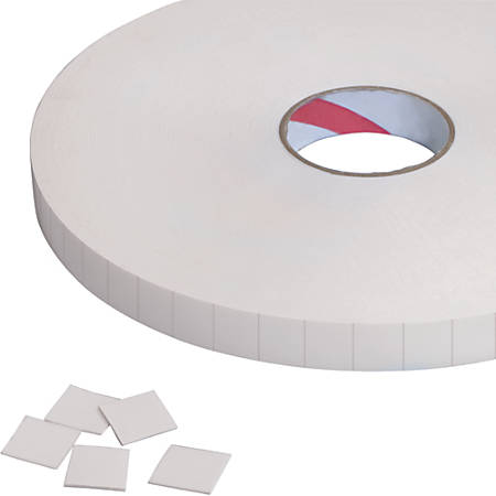 """Tape Logic® Removable Double-Sided Foam Squares, 3"""" Core, 1"""" x 1"""", White, Roll Of 648"""