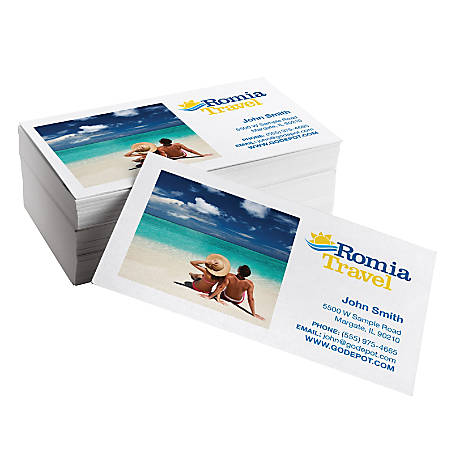 Same day business cards gloss 3 12 x 2 white pack of 50 by for Same day business cards office depot
