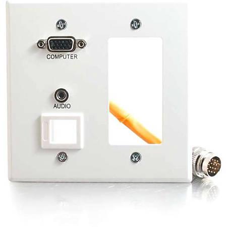 C2G RapidRun Double Gang Integrated VGA (HD15) + 3.5mm + Keystone + Decorative[ Style Wall Plate - White - 2-gang - White - 1 x Mini-phone Port(s) - 1 x VGA Port(s)