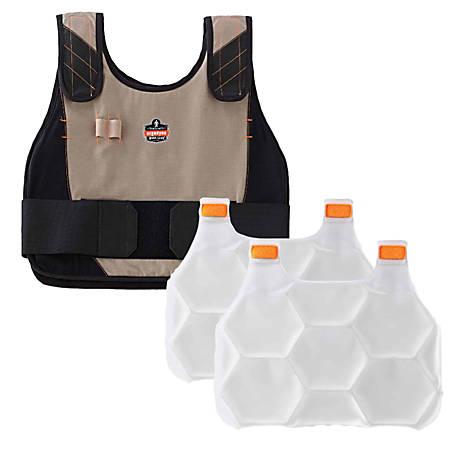 Ergodyne Chill-Its Phase Change Cooling Vest, Premium FR, Large/X-Large, Khaki, 6215