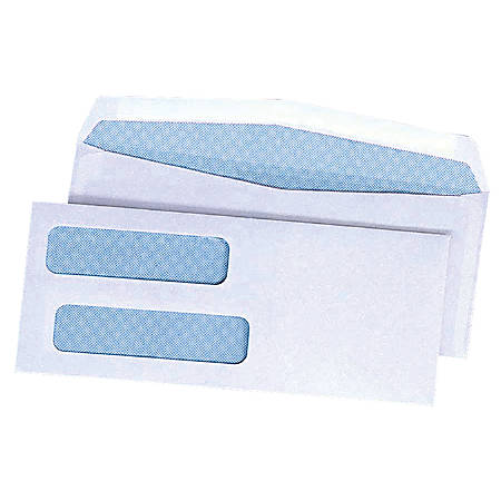"Quality Park® Double Window Envelopes With Gummed Flap, 3 5/8"" x 8 5/8"", Box Of 500"