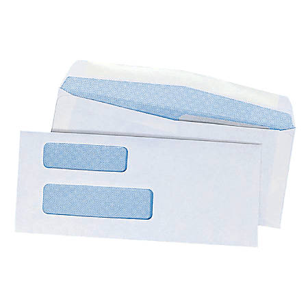 "Double Window Security Envelopes With Gummed Flap, #9, 3 7/8"" x 8 7/8"", Box Of 500"