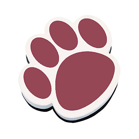 """Ashley Productions Magnetic Whiteboard Erasers, 3 3/4"""", Maroon Paw, Pack Of 6"""