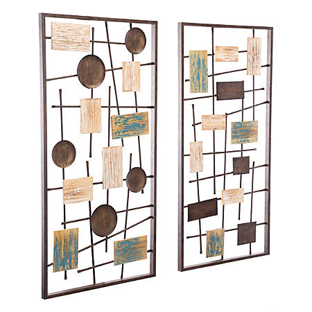 """Zuo Modern Abstract Wall Décor, 22 13/16"""" x 9 1/8"""", Antique, Set Of 2 Panels"""
