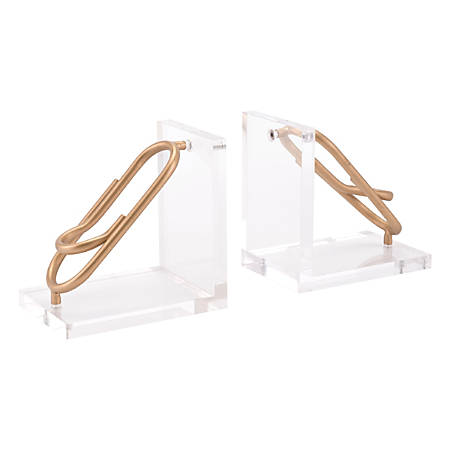 """Zuo Modern Clips Bookends, 7 1/8""""H x 14 1/4""""W x 4 3/4""""D, Gold, Set Of 2 Bookends"""