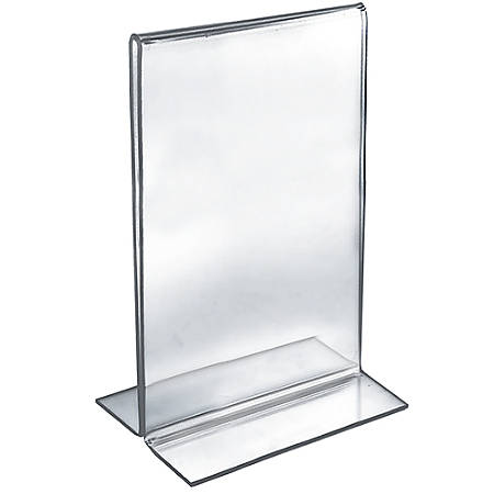 """Azar Displays Double-Foot Acrylic Sign Holders, 14"""" x 8 1/2"""", Clear, Pack Of 10"""