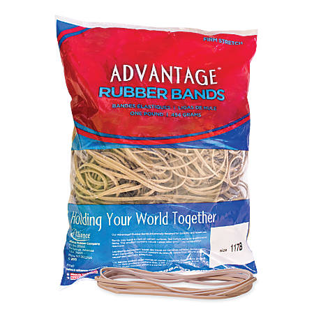 "Alliance® Rubber Advantage® Rubber Bands, 7"" x 1/8"", Natural Crepe, Bag Of 200"