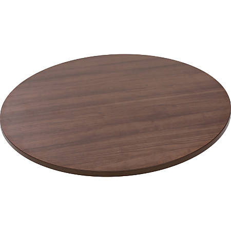 """Lorell® Round Adjustable-Height Table Top, 35 1/2""""W, Walnut"""