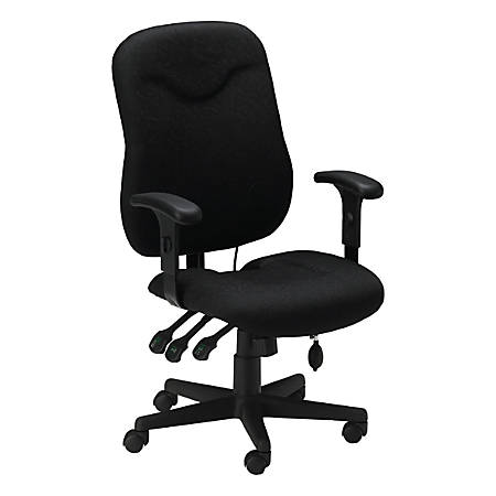"Mayline® Group Comfort Series 9414 High-Back Fabric Chair, 44""H x 26""W x 26""D, Black Frame, Black Fabric"