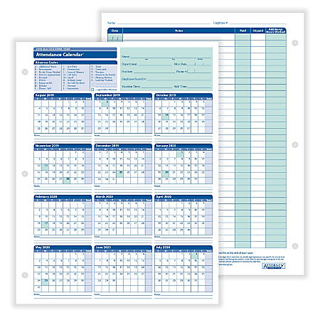"ComplyRight™ 2019-2020 Academic Attendance Calendar, 8 1/2"" x 11"", Pack Of 50"