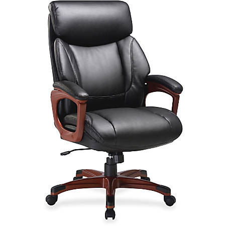 Lorell® Executive Soft Seat Bonded Leather Chair, Black/Cherry