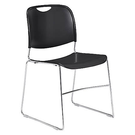 National Public Seating 8500 Ultra-Compact Stack Chair, Black/Chrome