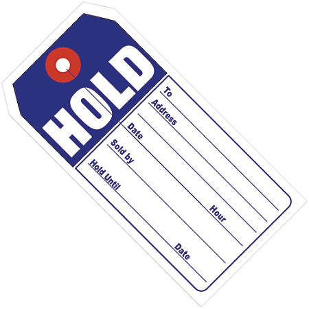"Office Depot® Brand Retail Tags, ""HOLD"", 4 3/4"" x 2 3/8"", 100% Recycled, Blue/White, Case Of 500"