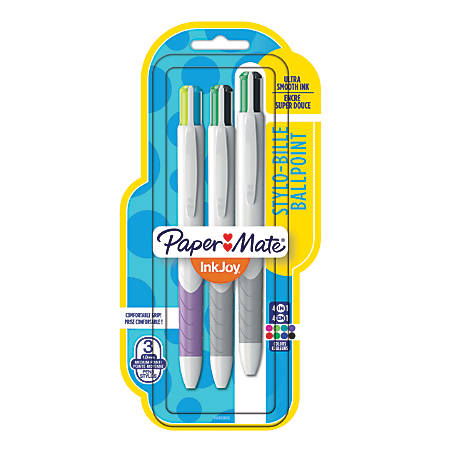 Paper Mate® InkJoy™ Quatro Retractable Ballpoint Pens, Medium Point, 1.0 mm, White Barrels, Assorted Ink Colors, Pack Of 3