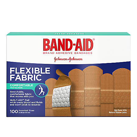 Band-aid® Flexible Fabric Bandages, Assorted Sizes, Box Of 100 Bandages