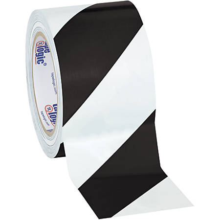 """BOX Packaging Striped Vinyl Tape, 3"""" Core, 3"""" x 36 Yd., Black/White, Case Of 3"""