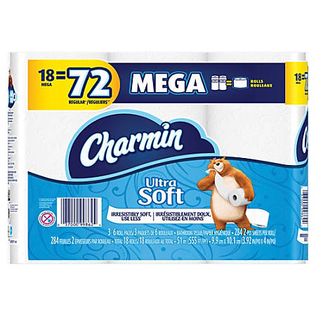 Charmin Ultra Soft 2-Ply Mega Rolls, White, 284 Sheets Per Roll, Pack Of 18 Rolls