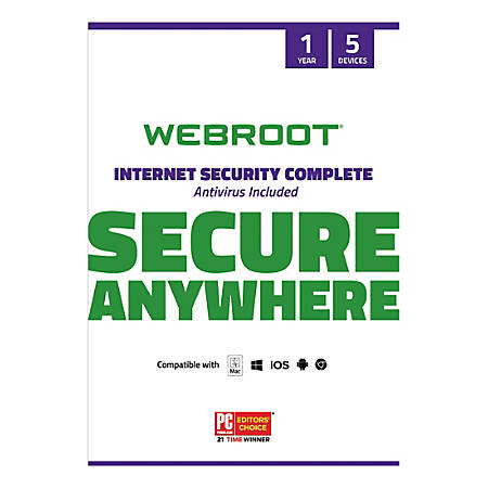 Webroot® Internet Security Complete With Antivirus Protection 2020, For 5 PC And Apple® Mac® Devices, 1-Year Subscription, Traditional Disc