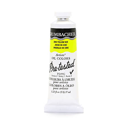Grumbacher P249 Pre-Tested Artists' Oil Colors, 1.25 Oz, Zinc Yellow Hue, Pack Of 2