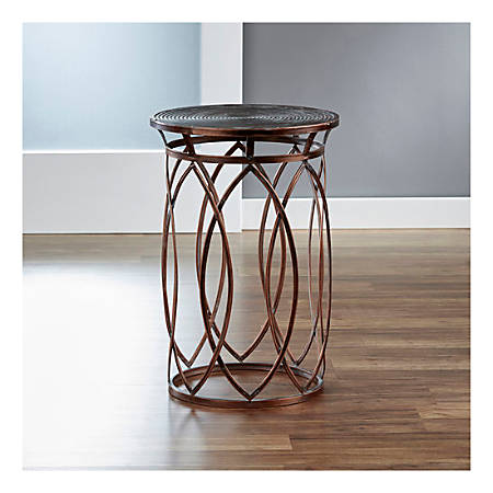 FirsTime & Co.® Marquise Side Table, Round, Antique Bronze
