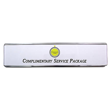 """The Mighty Badge™ do-it-yourself Polycarbonate Desk Signage Kit, For 12 Signs, 2"""" x 10"""", Clear"""