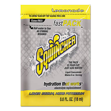 Sqwincher Fast Pack® Electrolyte Replenishment Concentrate, Lemonade, 0.6 Oz, Case of 200