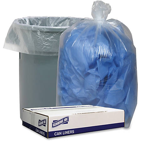 """Genuine Joe Clear Low Density 1.4mil Liners - 40"""" Width x 46"""" Length - 1.40 mil (36 Micron) Thickness - Low Density - Clear"""