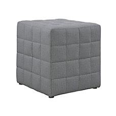Monarch Specialties Cube Ottoman Light Gray