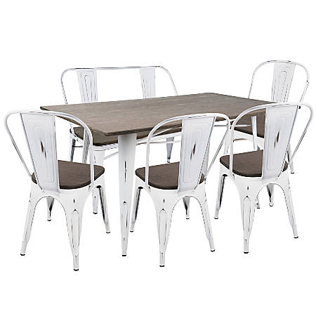 Lumisource Oregon Industrial Farmhouse Dining Table With 1 Bench And 4 Dining Chairs, Vintage White/Espresso
