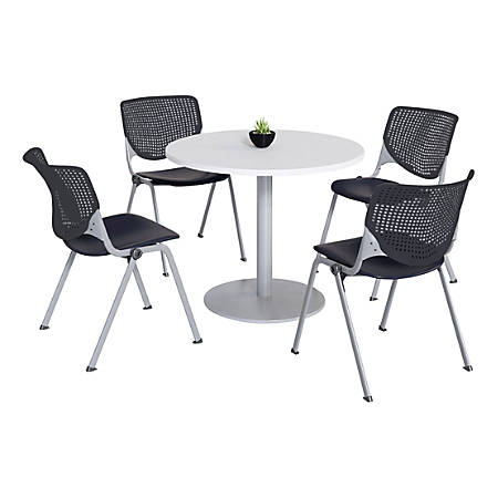 KFI Studios KOOL Round Pedestal Table With 4 Stacking Chairs, White/Black