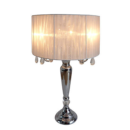 "Elegant Designs Romantic Crystal-Drop Table Lamp, 27""H, White Shade/Chrome Base"