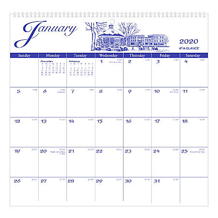 At A Glance Calendar.At A Glance Illustrator S Edition Monthly Wall Calendar 12 X 12 Blue January To December 2020 G100017 Item 8667353